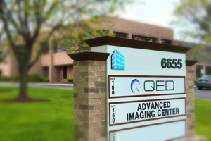 QED and Imaging Center Street Sign