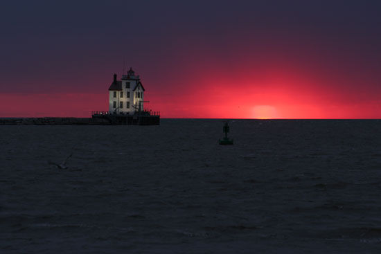 Lorain Lighthouse Sunset copyright David Ploenzke All Rights Reserved